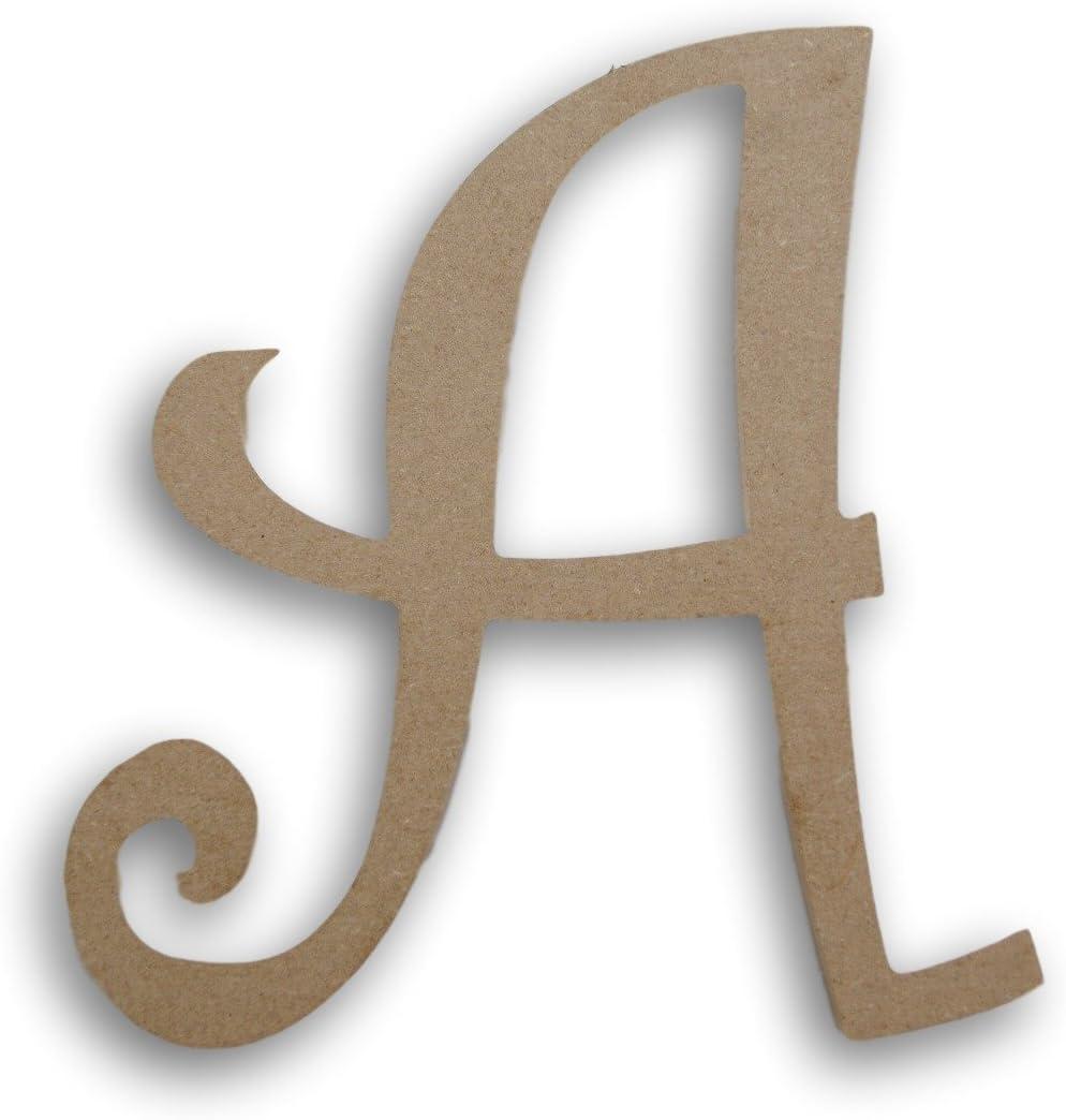 """Wood Script Initials Wall Decor - 8 Inches """"A"""""""