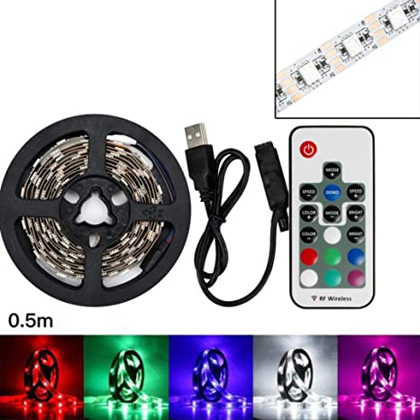 Led Lamps 2*100cm Usb Powered Rgb Changing Color Led Strip Light 44key Remote 3m Tape Lamp For Pc Monitor Tv Background Lighting 2*50cm