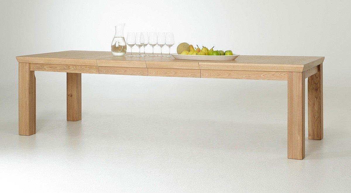 Dreams4Home Esstisch 'Grace' - Tisch, Esstisch, Holztisch, Küchentisch, ausziehbarer Tisch, Teleskopauszug, inkl. 2 Einlegeplatten ( je 50 cm ) B/H/T: 180 ( 280 ) x 78 x 100 cm, in Eiche Bianco, massiv, geölt