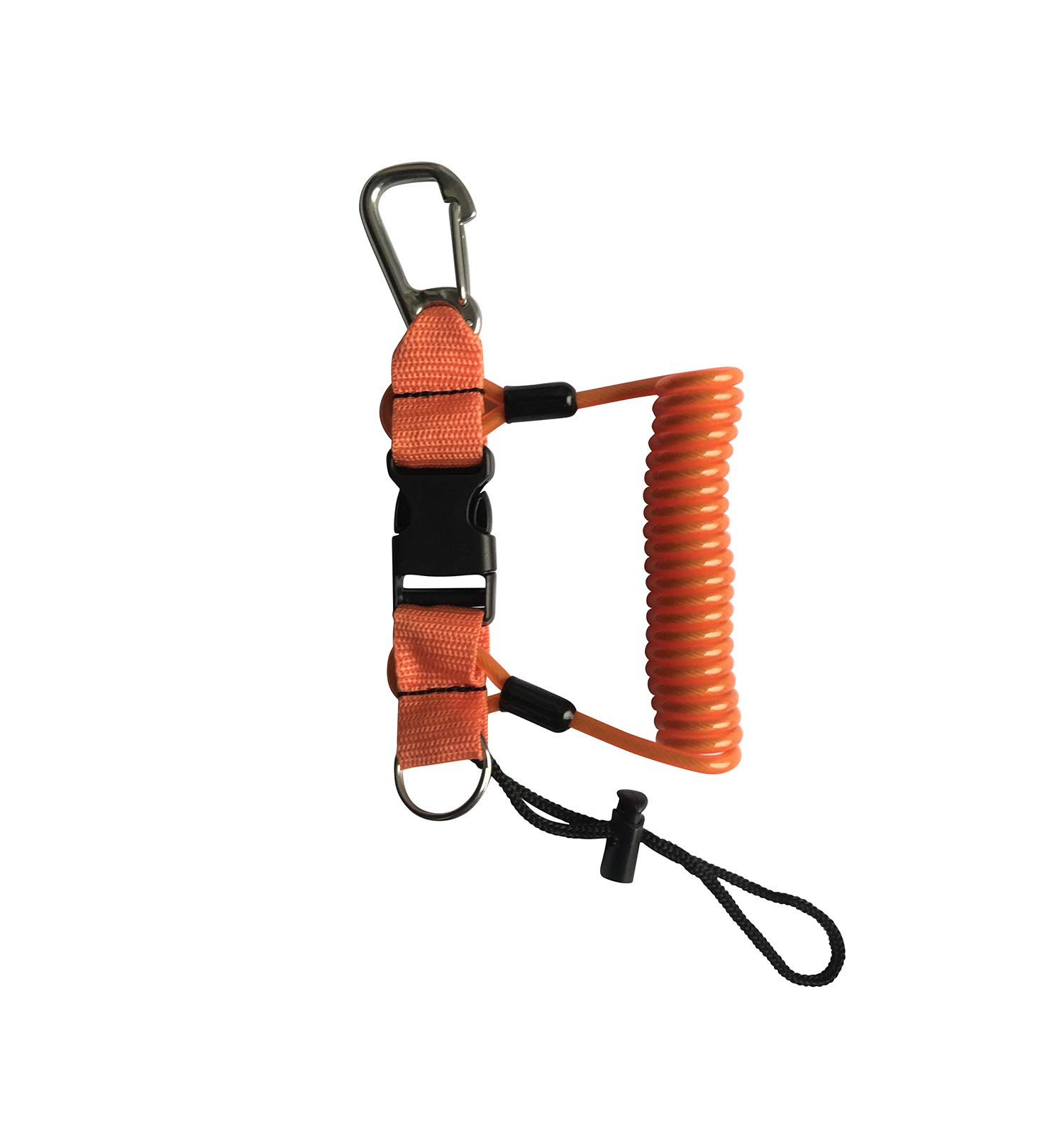 Kinno Scuba Spring Rope, Diving Lanyard Anti-Lost Spring Coiled Buckle for Diving Camera Cover Rope (Orange)