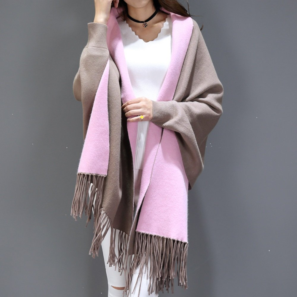 Bufanda HAIZHEN Elegante de moda Señoras de otoño e invierno con mangas chal capa de capa gruesa de ...