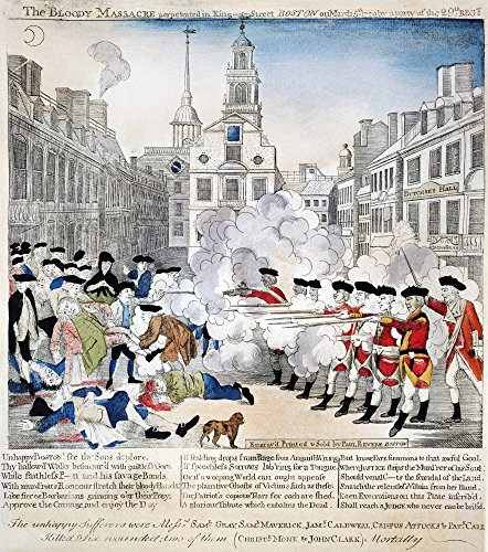 Boston Massacre 1770 Ncolored Engraving 1770 By Paul Revere Plagiarized By Revere From Henry Pelham Poster Print by (18 x 24)