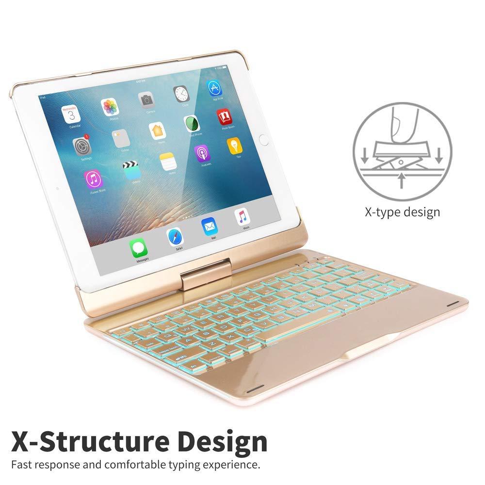 SENGBIRCH Funda con Teclado iPad 9.7 2018-iPad 9.7 2017-iPad Air 2-iPad Air-iPad Pro 9.7, 7 Colores Bluetooth Inalámbrico Retroiluminado-360 ...