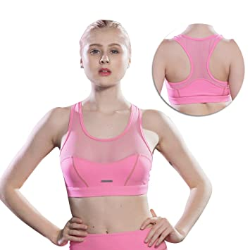 8446cc418c Racerback Sports Bras with Mesh - Women s Yoga Tank Tops With Mesh Built-in  bra