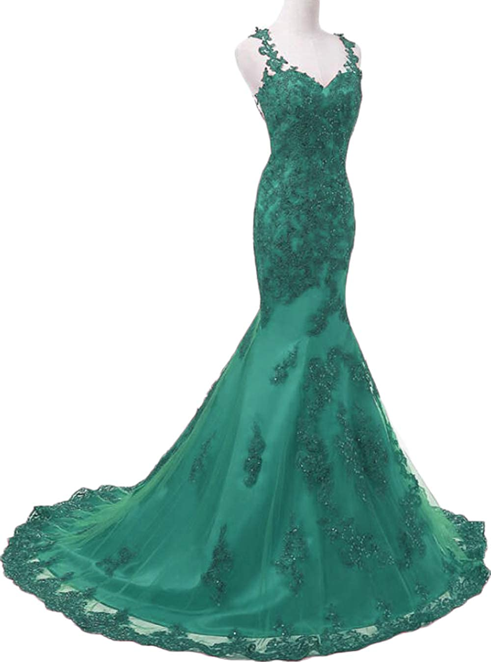Turquoise Womens Illusions Lace Mermaid Prom Dresses Long 2019 Beaded Tulle Wedding Party Dresses Formal Evening Gowns