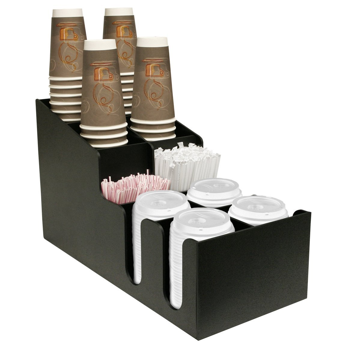 Coffee Cups, Lids and Stirrer Organizer Presentation. Holds 4 Size Coffee Cups. Made by PPM