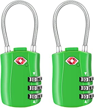 3-Digit Security Padlock Diyife TSA Luggage Locks, Blue Combination Padlocks 2 Packs Newest Version Code Lock for Travel Suitcases Luggage Bag Case etc.