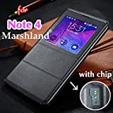Samsung Galaxy Note 4 Flip Cover S-View Single Window Flip Cover by Marshland Black