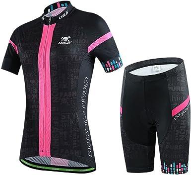 Gwell - Conjunto de maillot de ciclismo de manga corta y pantalón con acolchado 3D para mujer: Amazon.es: Ropa y accesorios
