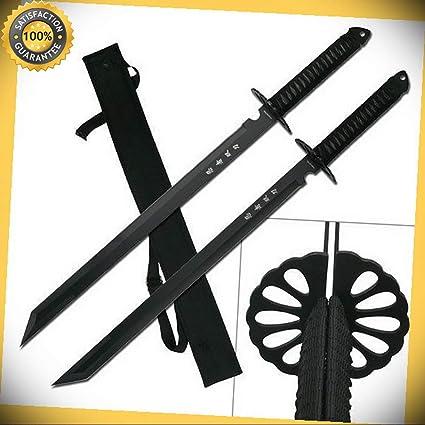 2 PC 28 Full Tang Black Double Ninja Combat Sword With ...