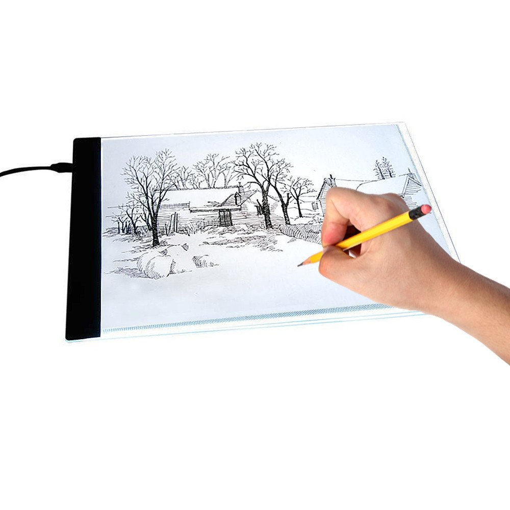 A4 Ultra-Thin LED Art Stencil Board Light Pad Tracing Drawing Pad Board Light Box for Artists, Drawing, Sketching, Animation | Active Area A4 with US Adapter 5V USB Power 1pcs Walfront