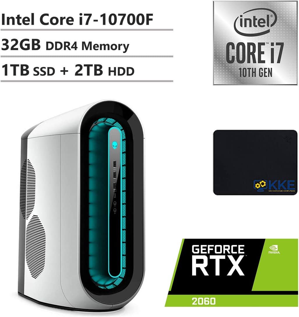 Alienware R11 Gaming Desktop, Intel Core i7-10700F, NVIDIA GeForce RTX 2060, 32GB DDR4 Memory, 1TB PCIe Solid State Drive + 2TB HDD, WiFi, HDMI, KKE Mousepad, White/Lunar Light
