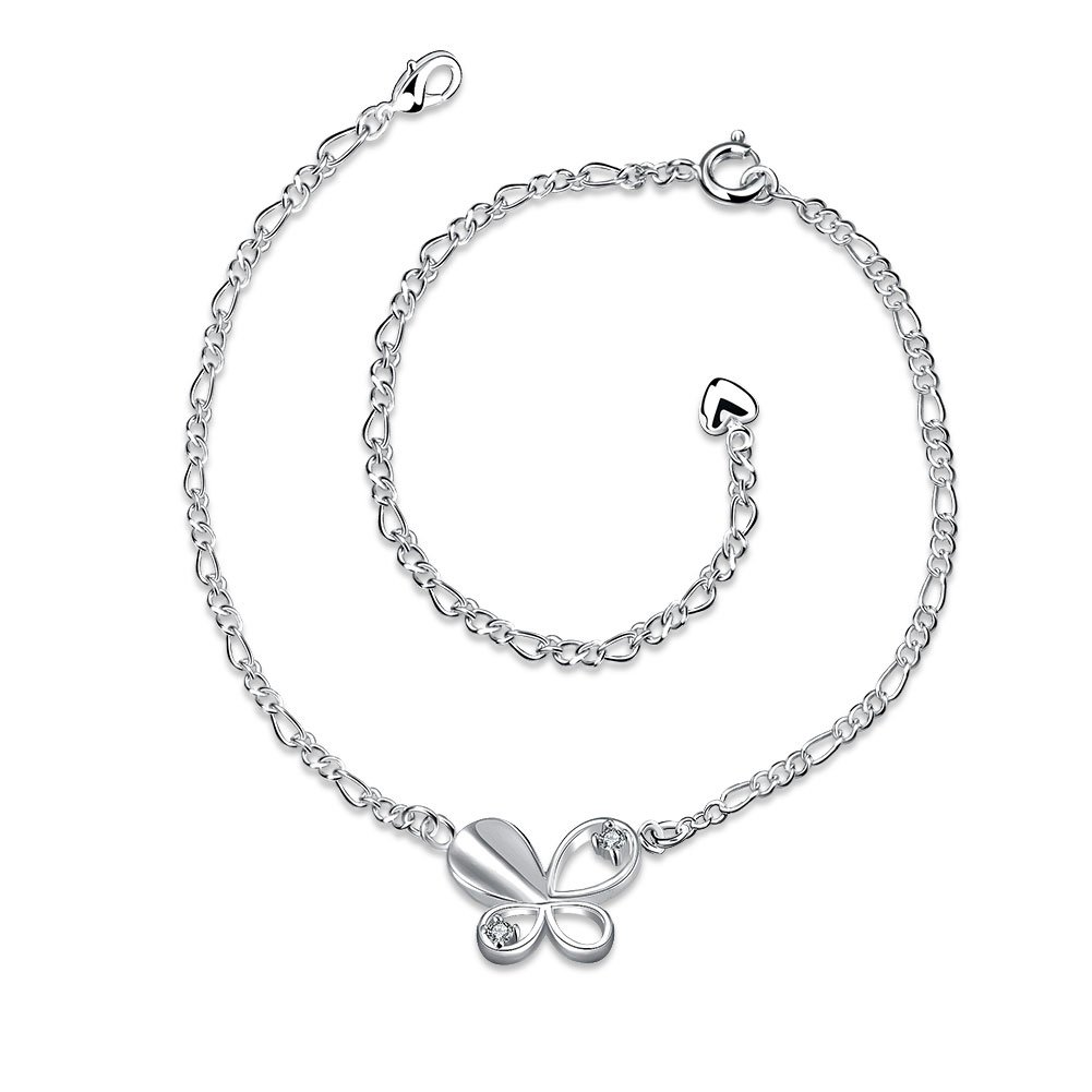 Xiaodou Sterling Silver Crystal Butterfly Charm Anklet Chain Summer Sandals Anklet