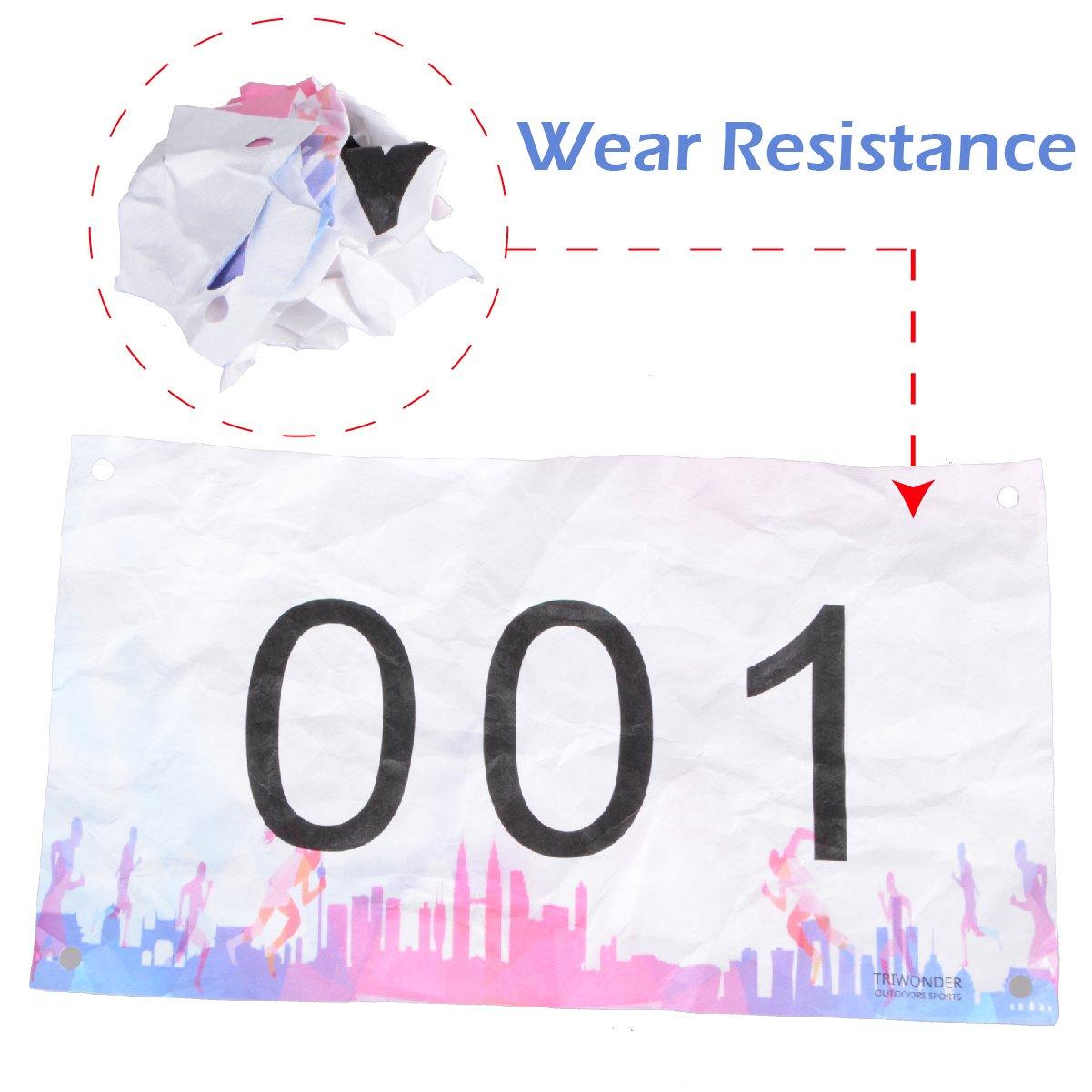 Clinch Star Numeri pettorali Antiurto e Impermeabili con Spille di Sicurezza per la Maratona