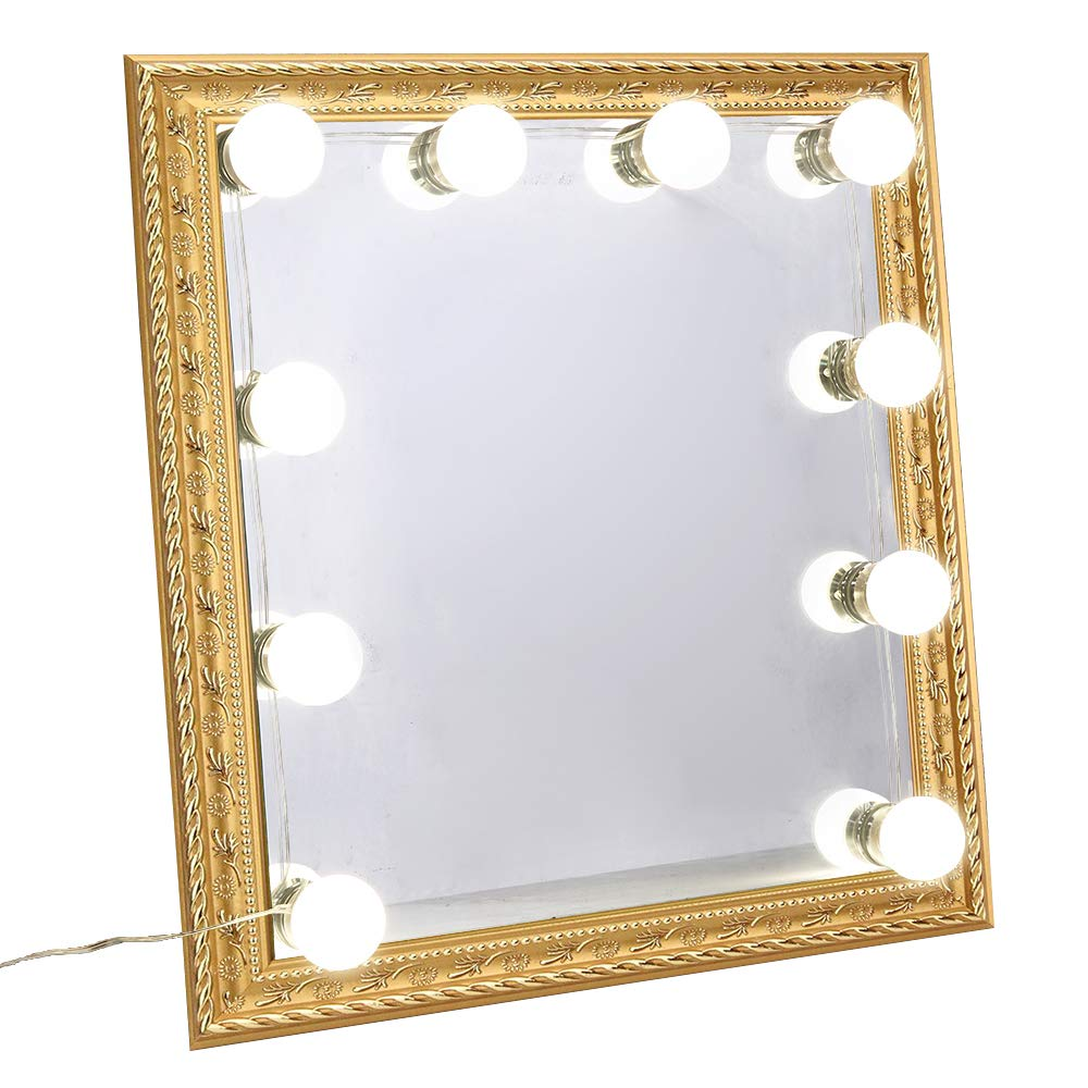 Ollny Hollywood Style LED Vanity Mirror Lights Kit 10 Dimmable Light Bulbs Stick on Lighting Fixture Strip for Makeup Vanity Dressing Table 4000K Plug in