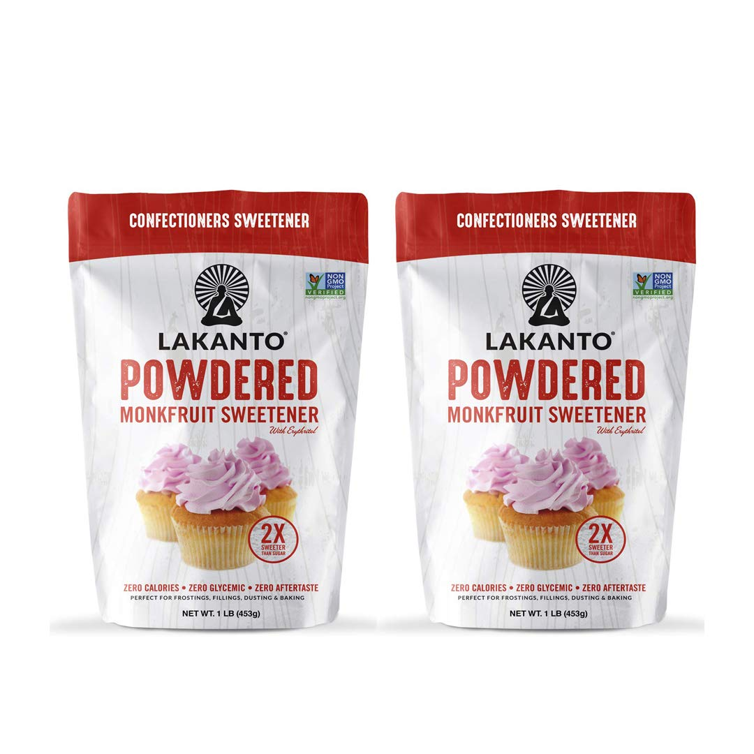 Lakanto Powdered Monkfruit Sweetener - Powder Sugar Substitute 1 LB - Pack of 2 by Lakanta
