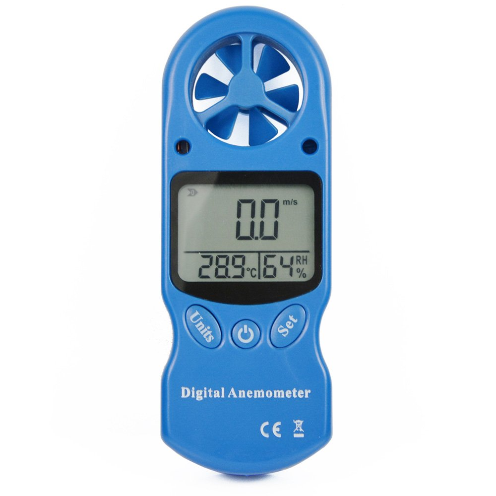 Ehdis 3 in 1 Handy Digital Anemometer LCD Wind Speed Temperature Humidity Meter with Hygrometer Thermometer Included Neck lanyard and Protector Bag
