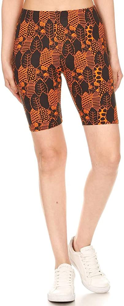 Leggings Depot LBKX-S686-3X Leopard Muse Printed Biker Shorts 3X Plus