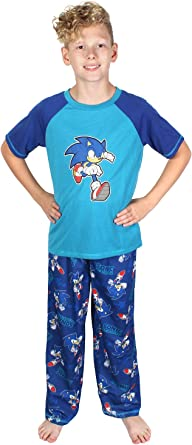 Sonic The Hedgehog Boys Pajamas Thumbs Up Two Piece Long Sleeve Shirt And Pants