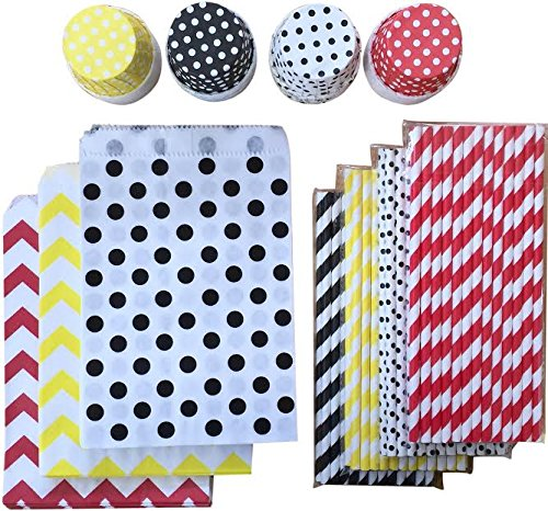 Mickey Mouse Theme Party Goods Bundle - Red Black Yellow White - 100 Paper Straws - 48 Candy/Nut Treat Cups - 48 Favor Bags