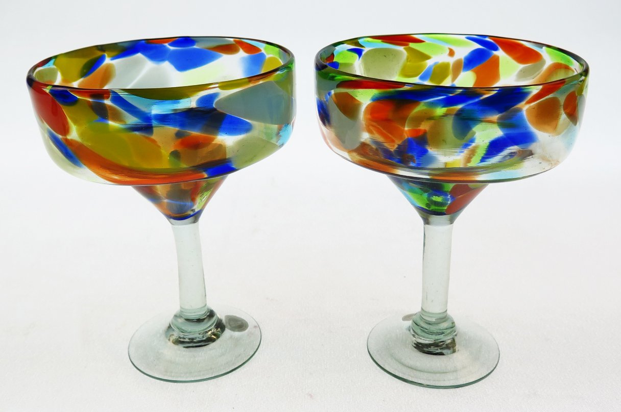 Mexican Margarita Glasses & Pitcher, Confetti Swirl (Set of 4) by Mexican Glass (Image #4)