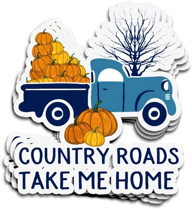 DKISEE 3 PCs Stickers Pumpkin Car Country Roads Take Me Home Die-Cut Wall Decals for Laptop Window Car Bumper Water Bottle Helmet 4 inches