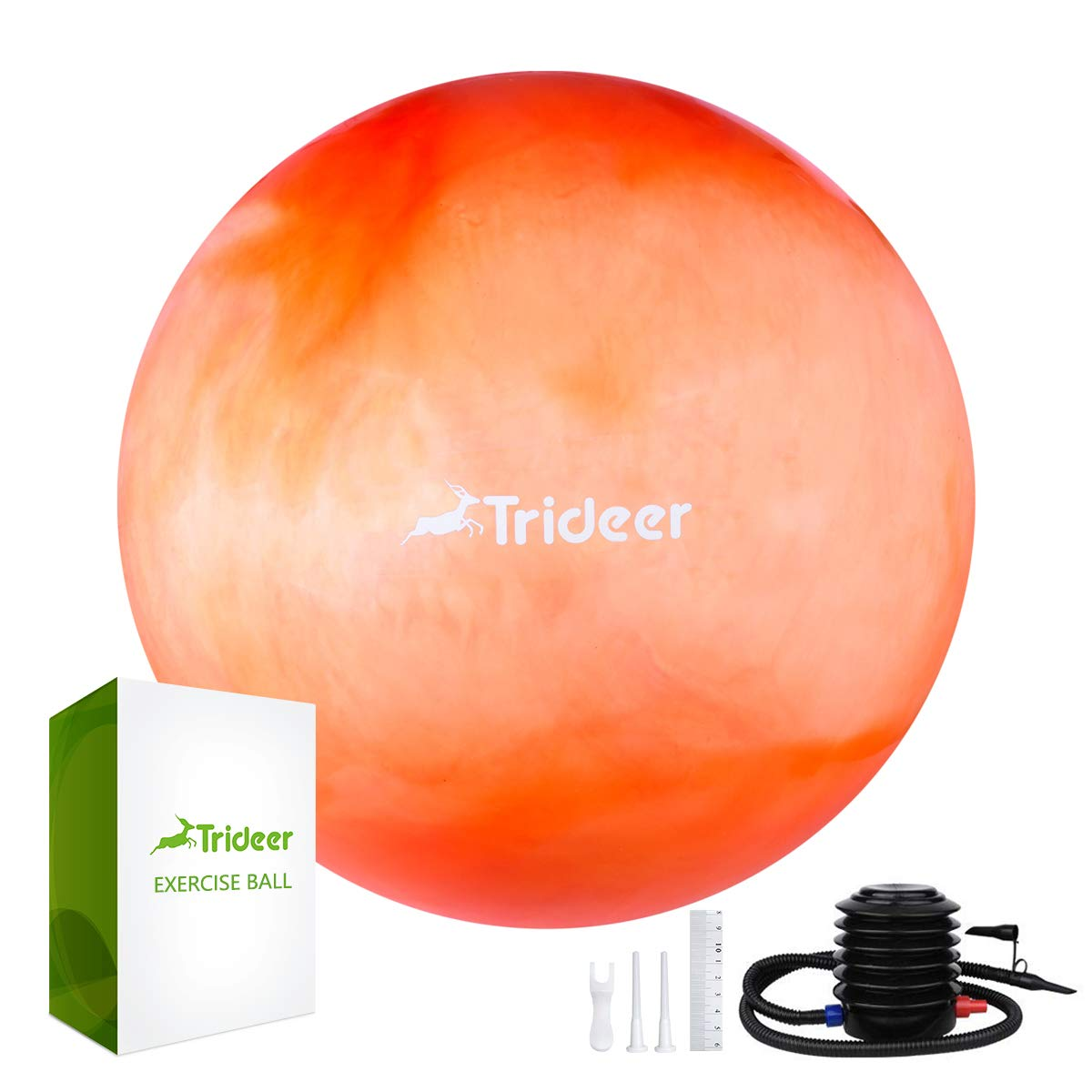 Trideer Exercise Ball (Multiple Color), Yoga Ball, Birthing Ball with Quick Pump, Anti-Burst & Extra Thick, Heavy Duty Ball Chair, Stability Ball Supports 2200lbs (B#Orange&White, L (58-65cm))