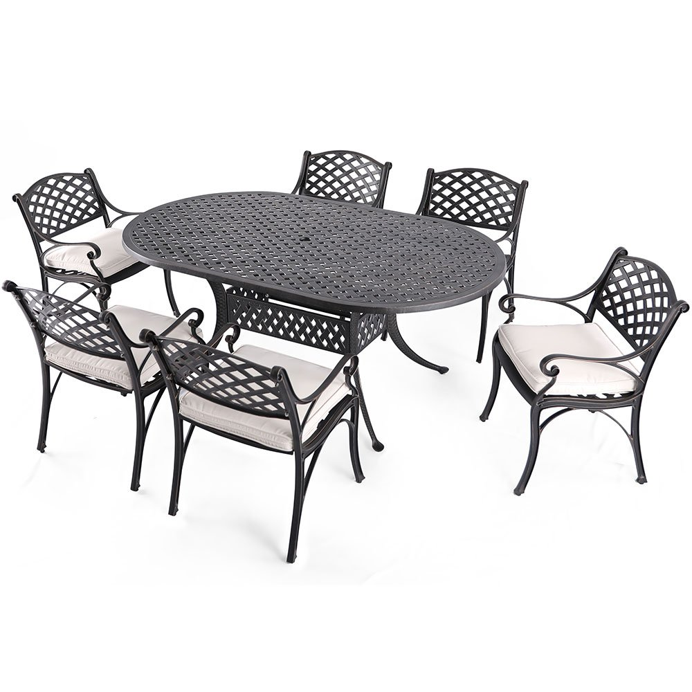 "Nuu Garden 7 Piece Outdoor Solid Cast Aluminum Patio Dining Conversation Set with 72"" x 42"" Oval Table and 6 High Back Arm Chairs, Antique Bronze (Oat Cushions) SCD002-02-MH-0225"