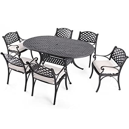 Amazon Com Nuu Garden 7 Piece Outdoor Solid Cast Aluminum Patio