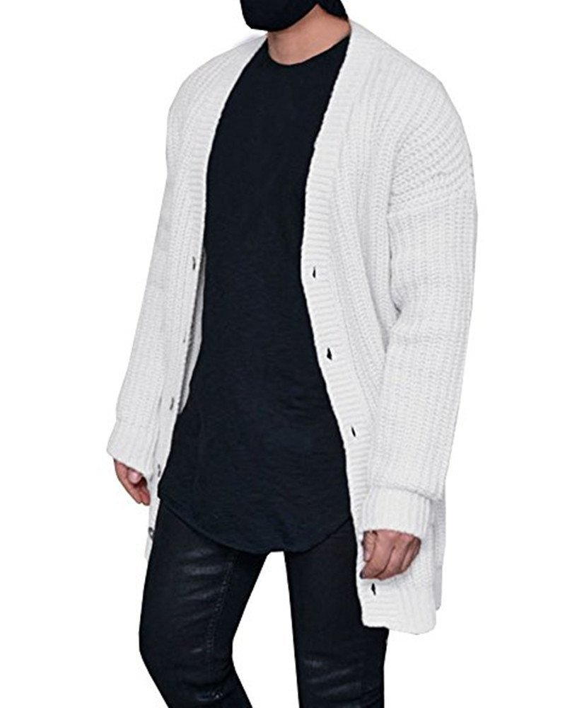 Mafulus Mens Long Sleeve Open Front Loose Knited Cardigan Button Down Chunky Sweater Pockets