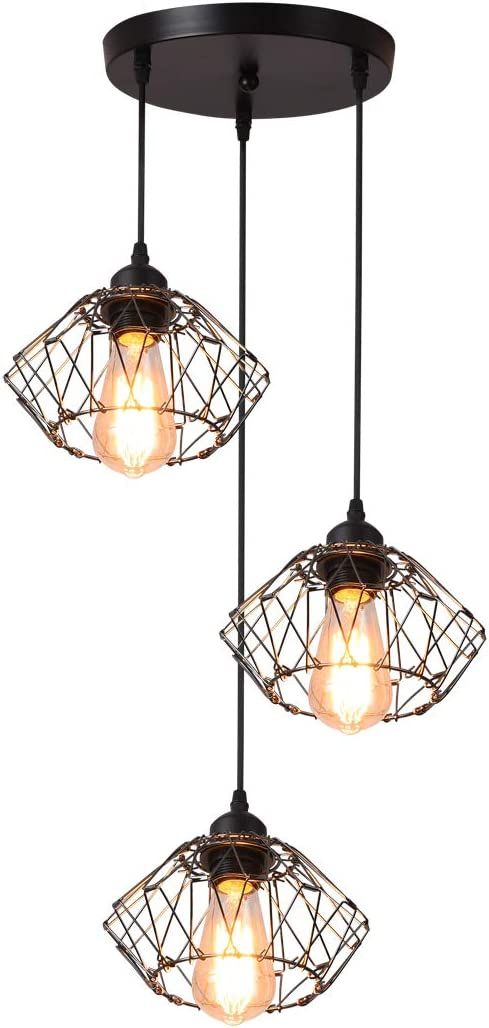Garwarm Rustic Industrial Pendant Light, 3 Lights Adjustable Vintage Ceiling Hanging Light Fixture Chandelier for Kitchen Island Bedroom Living Dining Room,Black