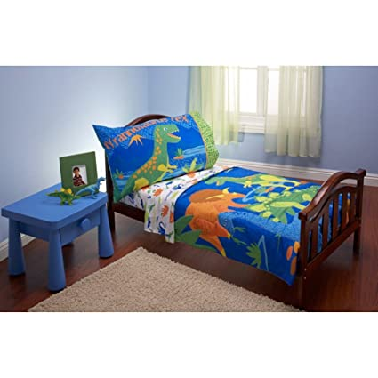 Amazon.com: T-Rex Dinosaurs Dino 4 Piece Toddler Bedding Set: Home ...