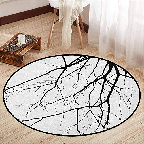 Round Carpets,Black and White,Macro Leafless Winter Tree Branches Idyllic Twigs of Oak Nature Print,Ideal Gift for Children,5'3