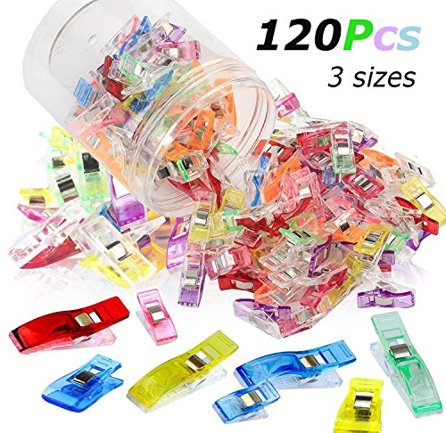 Hamosky Pack of 120, 3 Sizes, 1.06'', 1.38'', 2.2'' Multicolor Sewing Clips for Quilting, Crafting,Crochet and Knitting, All Purpose Clips for Quilting Binding Clips, Fabric Clips, Paper Clips by Hamosky