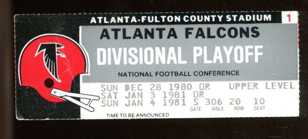 1980 Falcons v Cowboys NFC Division Playoff Ticket 1/4/81 Rare 46550