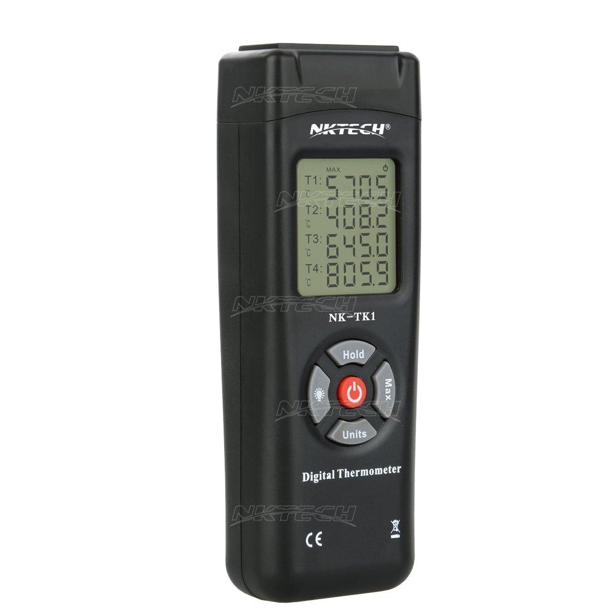 NKTECH NK-TK1 termometro digitale termocoppia Quad canali 4-way k-tipo LCD retroilluminazione 50 to 1350℃//℉//K 4 sensore read Corner T1//T2//T3//T4 tester con cacciavite tl-1