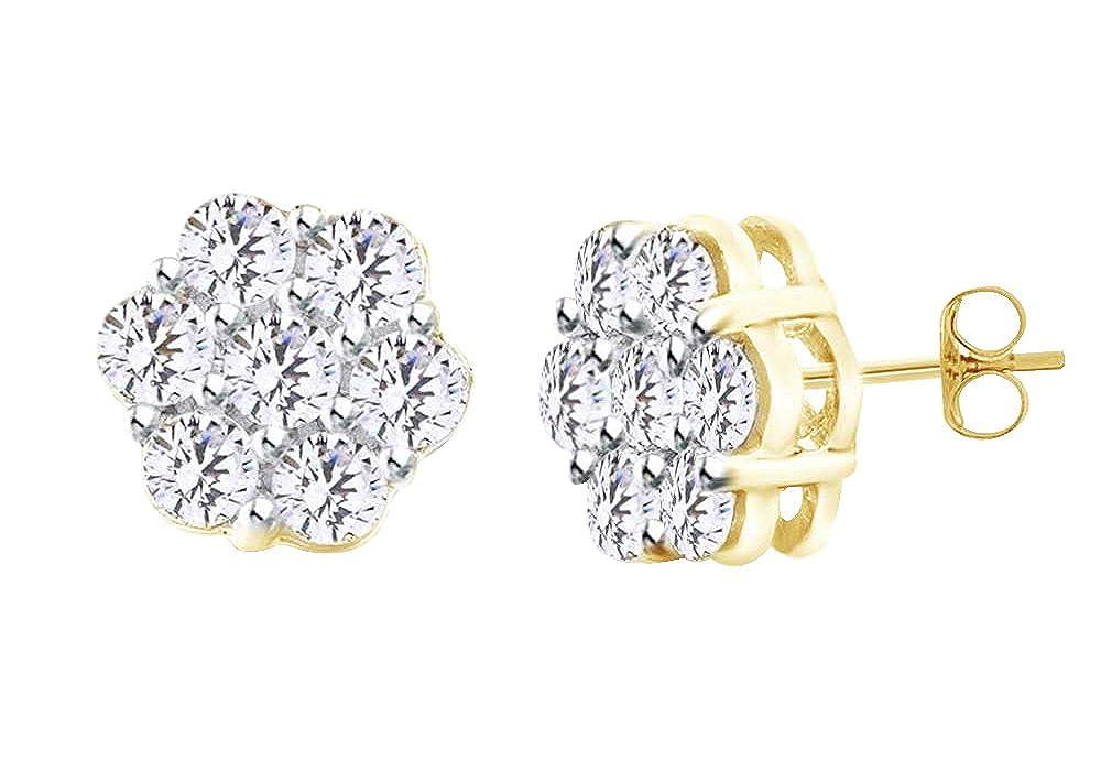 14 Karat (585) GelbGold 2 KT Schnitt rund natur weiß Diamant Damen Ohrstecker Blaume in 14 ct 585 Massiv Weiß Gold