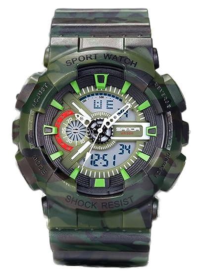 Jóvenes adultos niños niñas UV400 deporte Militar 50 M impermeable relojes golpes resistir para senderismo verde + negro: Amazon.es: Relojes