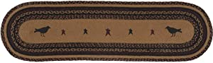 VHC Brands 37903 Primitive Tabletop & Kitchen - Heritage Farms Tan Crow Oval Jute Runner, 13x48, Mustard Yellow