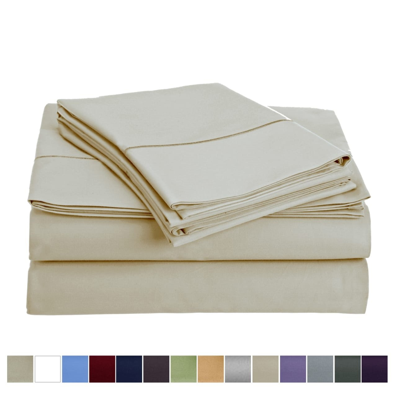 Audley Home 800 Thread Count 100% Egyptian Cotton Extra Long Staple Bed Sheet Set 3 Piece Bedding Extra Deep Pocket Upto 18'' Soft Breathable Hypoallergenic (Twin, Ivory)