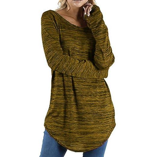 SuperSU Frauen Große Größe Einfarbig Langarm Bluse Pullover Tops Shirt Damen Shirt Rundhals Falten Shirt Stretch Tunika Obert