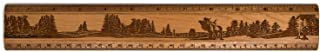 """product image for 12"""" Solid Cherry Wood Artisan Ruler - Elk Scene - Measures Inches & Centimeters - Made in USA"""