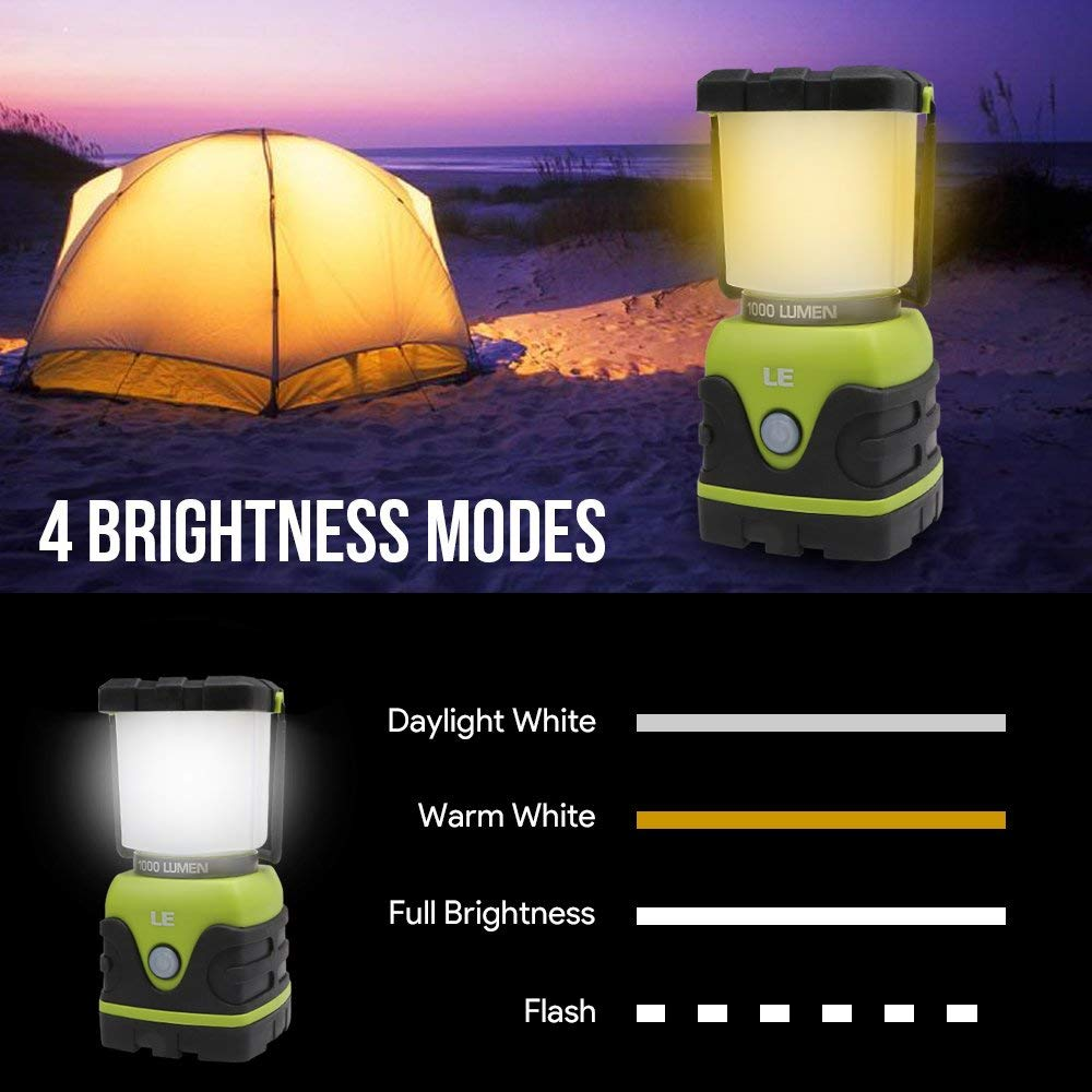 Outages Dimmable Water Resistant Tent Lights for Hiking Camping Gear Equipment Flashlight Lanterns LE Outdoor LED Camping Lantern,1000lm Battery Powered Hurricanes Emergencies