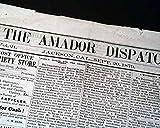 Rare JACKSON CA California Amador County OLD WEST Gold Minig Town 1879 Newspaper AMADOR DISPATCH, Jackson, California, Sept. 20, 1879