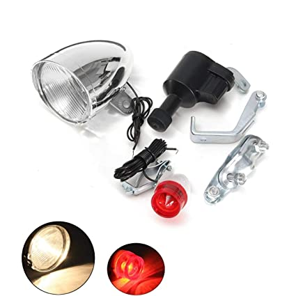 Bicycle Friction Generator Dynamo Headlight Front Tail Light Set 6V//3W