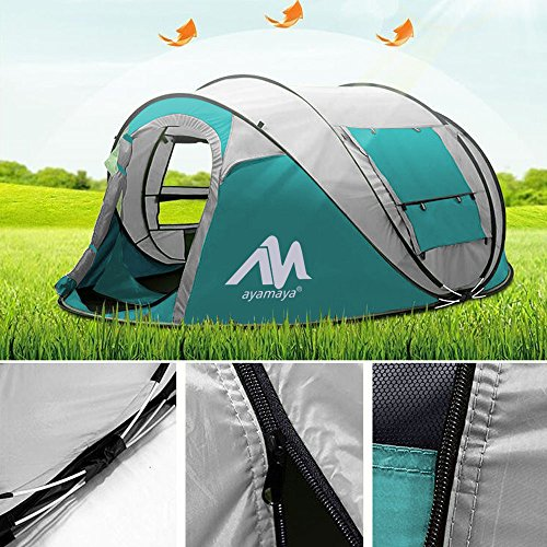 AYAMAYA Camping Tents 3-4 Person/People Easy Up Instant Setup, Camping Gear Waterproof [2 Doors] Privacy Automatic Pop Up Big Family Dome Tent Shelter with Carry Bag for Backpacking Picnic Travelling