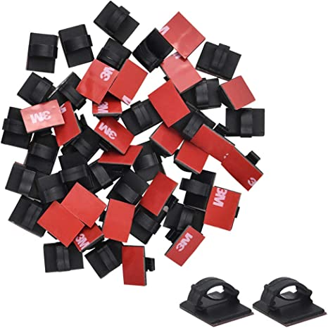 Organizador Cables Mesa Oficina 50 Piezas Clips de Cable Autoadhesivos Sujeta Cables Adhesivo Negro Abrazaderas de Pared para Cable Organizador Cables Escritorio Organizar Cables PC//TV//Red//Coche