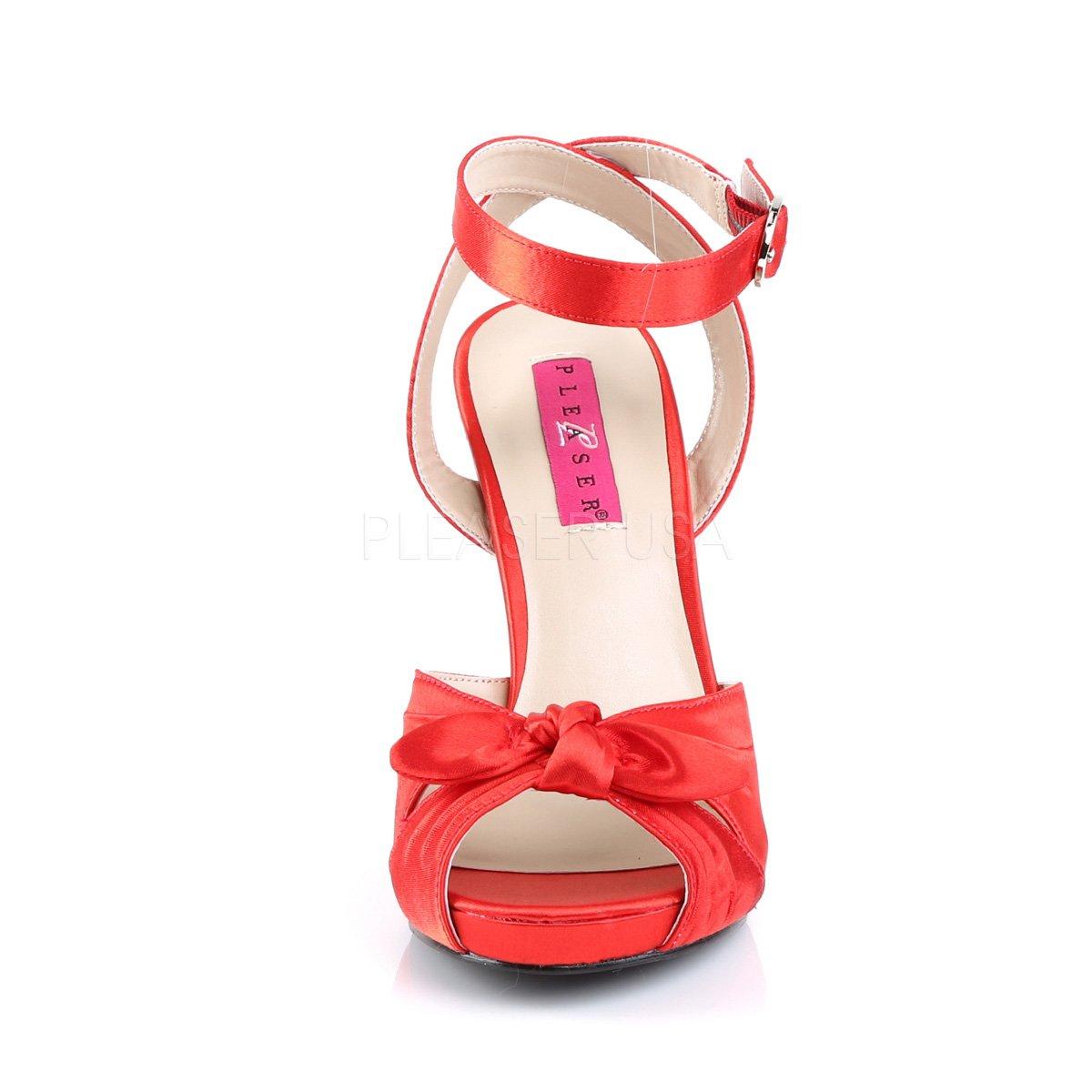 Pink Label Extra Größe Sandalen Sandaletten Eve-01 Satin rot Satin Übergrößen Satin rot Rot 51408b