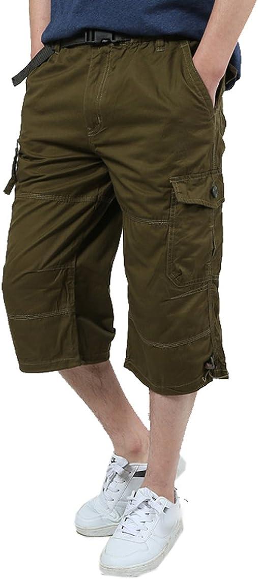 JYZJ Men Plus Size Loose Solid Color Elastic Waist Capri Straight Leg Multi Pockets Cargo Shorts with Belt
