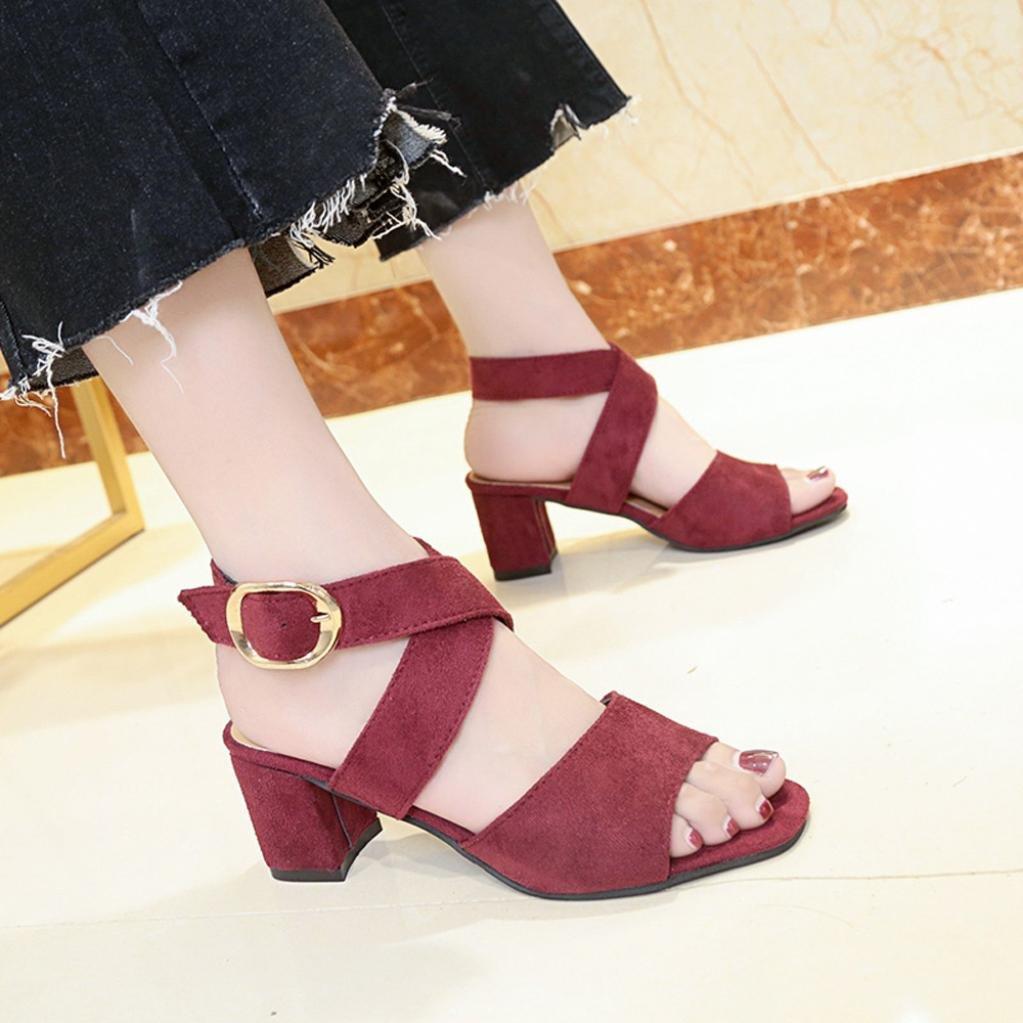 RAISINGTOP Women High Heels Wedge Sandals Ankle Strap Buckle Slope Open Toe Dressy Elegant Juniors New